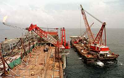 Mobil Oil ships off the coast of Malabo, Equatorial Guinea.